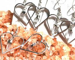 x3 Raw Crystal Gemstone Heart Shape Earrings BR 436