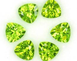 5.15 Cts Natural Parrot Green Peridot 6 mm Trillion 6 Pcs Pakistan