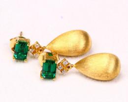 2.26g 925 Sterling Silver Natural Green Topaz Earrings D2302