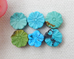 Carved Flower Turquoise ,Handmade Gemstone ,Turquoise Cabochons ,Lucky Ston
