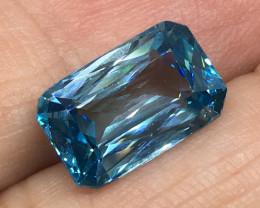 7.48 Carat VVS Zircon Caribbean Blue Custom Cut Fabulous Quality !