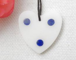 17.5cts New Arrival Intarsia Pendant ,Lapis Intarsia Heart Bead D879
