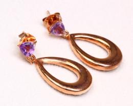 1.92g 925 Sterling Silver Natural Amethyst Earrings Earrings D2510