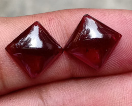 10x10mm GARNET SQUARE PAIR 100% Natural Untreated Cabochon VA2336
