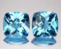 ~PAIR~4.88 Cts Natural Sky Blue Topaz 8.0 mm Cushion (Checkerboard) Brazil