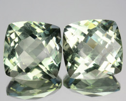 ~PAIR~ 7.52 Cts Natural Green Prasiolite / Amethyst Cushion Brazil