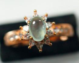 Natural Grade A Ice Jadeite Jade Cabochon Ring