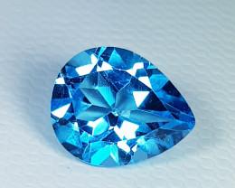 3.13 ct Top Quality Stunning Pear Cut Super Swiss  Blue Topaz