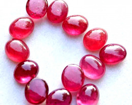 22.7 Tcw. Fiery Ruby Cabochons - 8mm x 6.5 - Gorgeous
