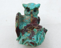 Hand carved owl ,animal cabochon ,turquoise owl,best gift E01