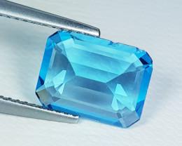 3.55 ct Top Quality Stunning Octagon Cut Natural Swiss Blue Topaz