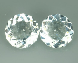 9.80 CTS PAIR DELUXE REAL WHITE  NATURAL TOPAZ ROUND UNHEATED!!