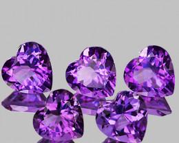 7.00 mm Heart 5pcs 5.42cts Pinkish Purple Amethyst [VVS]