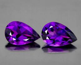 9x6 mm Pear 2pcs 1.91cts Purple Amethyst [VVS]
