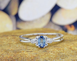 Natural Blue Sapphire 925 Sterling Silver Ring (SSR0545)