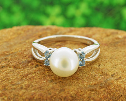 Pearl & Blue Topaz  925 Sterling Silver Ring Size 6 (SSR0559)