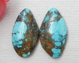 19ct Hot Sale Nugget Turquoise Cabochon Pair E15