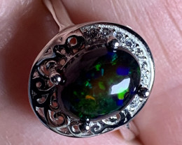 'WILD CHILD OPAL' LUSCIOUS OPAL CABOCHON RING SIZE 6.5 NR