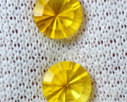 4+ CT Natural - - Unheated  Yellow Fluorite Faceted Gemstone Pair