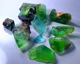 524 CT Natural - Unheated  Green & Blue Fluorite Rough Lot