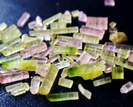 51.00 CT 100% Natural Green & Pink Tourmaline Crystal Rough lot