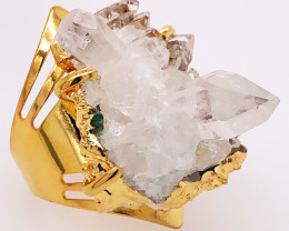 Raw High Grade Crystal Terminated Point Gold Ring BR 494