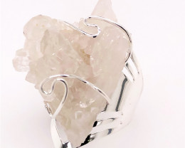 Wire Wrapped Crystal Terminated Point Silver Ring BR 516