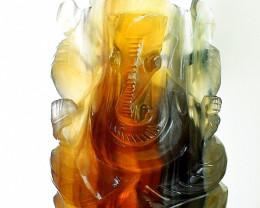 Genuine 750.00 Cts Multicolor Fluorite Carved Ganesha