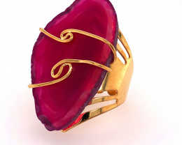 Pink Agate wire wrapped Ring Gold Plated  BR 529