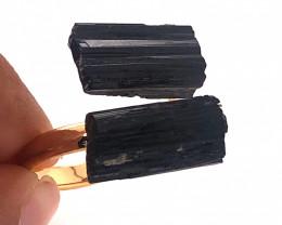Raw Spiritual black Tourmaline Double Gemstone Ring BR 555