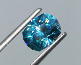 2.45 Carat VVS Zircon Caribbean Blue Master Cut Incredible Quality!