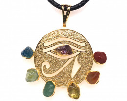 Egyptian Eye Seven Chakra - Natural Stones Pendant & Black Chain BR 573