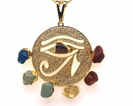 Egyptian Eye Seven Chakra - Natural Stones Pendant & Gold Chain BR 574