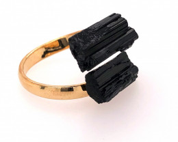 Raw Spiritual black Tourmaline Double Gemstone Ring BR 560
