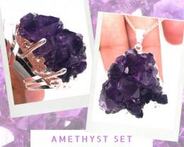 Amethyst Raw Set - High Grade Druzy Silver Ring & Pendant BR 578