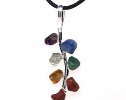 Cts parcel  Jasper Leaf Seven Chakra - Natural Stones Pendant & Black Chain