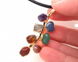 Leaf Seven Chakra - Natural Stones Pendant & Black Chain BR 597