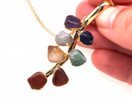 Leaf Seven Chakra - Natural Stones Pendant & Black Chain BR 598