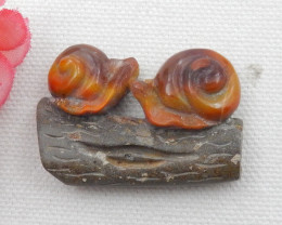 75.5ct New Design Natural Zhanguo Red Agate Carved Snail Cabochon E55