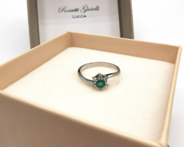 0,23ct Colombian Emerald 18k Solid Gold Ring Colombian Natural Emerald Colo