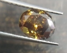 Certified 0.91ct Fancy Dark Brown Yellow   Diamond , 100% Natural Untreated