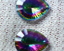 3.55 CT Natural - Coated Mystic Quartz Faceted Gemstone Pair