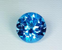 3.33 ct Top Quality Stunning Round Cut Natural  Swiss Blue Topaz