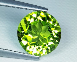 3.22 ct  AAA  Quality   Excellent Round Cut Top Luster Natural Peridot .