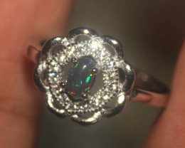 Ethiopian Welo Fire Smoked Opal Silver Ring Size US (6) 0155