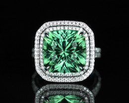A 10.52CT BLUE GREEN TOURMALINE & DIAMOND DOUBLE HALO RING
