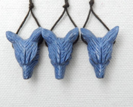 61cts 3pcs Hand Carved Wolf Pendant ,Blue Coral Wolf ,Wolf Head Pendant E91