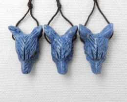 56cts 3pcs Hand Carved Wolf Pendant ,Blue Coral Wolf ,Wolf Head Pendant E92