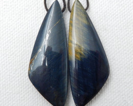 Jewelry Findings, Blue Tiger Eyes Earrings ,Handmade Gemstone ,Lucky Stone