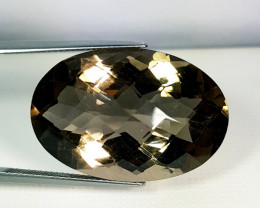 43.35 ct Top Grade Gem Oval Checker Cut Natural Smoky Quartz